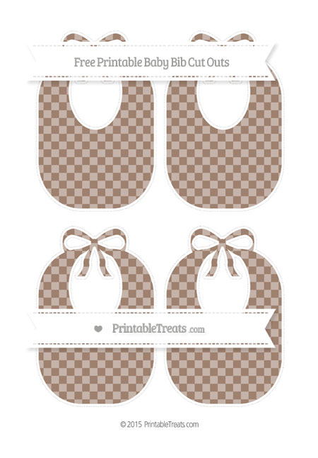 Free Beaver Brown Checker Pattern Medium Baby Bib Cut Outs