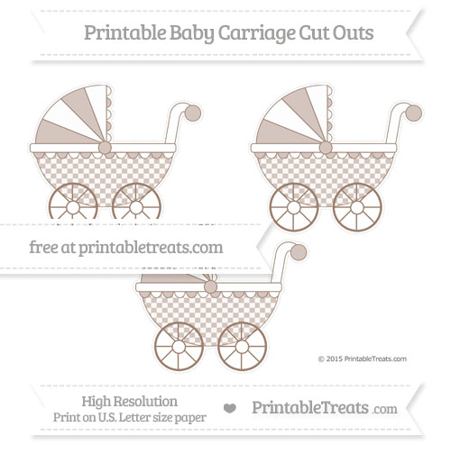 Free Beaver Brown Checker Pattern Medium Baby Carriage Cut Outs
