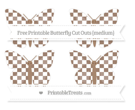 Free Beaver Brown Checker Pattern Medium Butterfly Cut Outs
