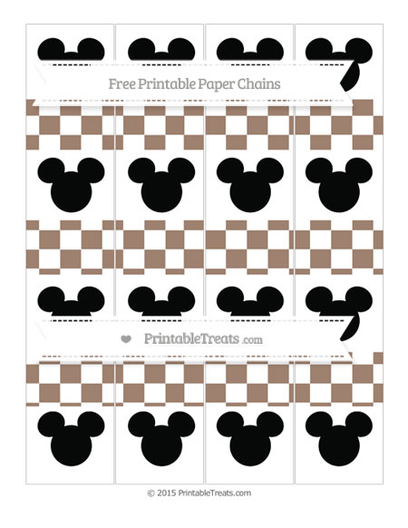 Free Beaver Brown Checker Pattern Mickey Mouse Paper Chains