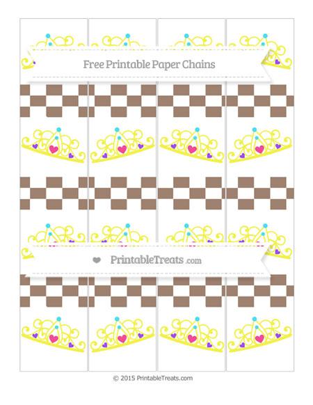 Free Beaver Brown Checker Pattern Princess Tiara Paper Chains