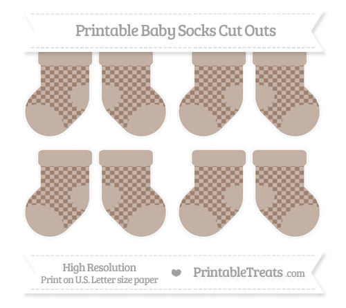 Free Beaver Brown Checker Pattern Small Baby Socks Cut Outs