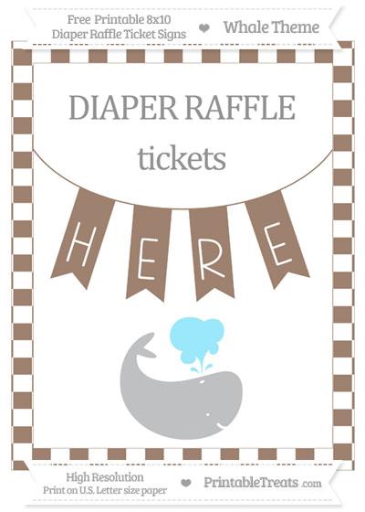 Free Beaver Brown Checker Pattern Whale 8x10 Diaper Raffle Ticket Sign
