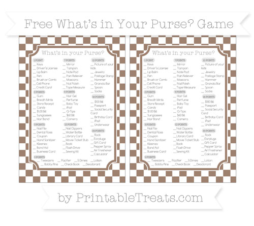 Free Beaver Brown Checker Pattern What's in Your Purse Baby Shower Game