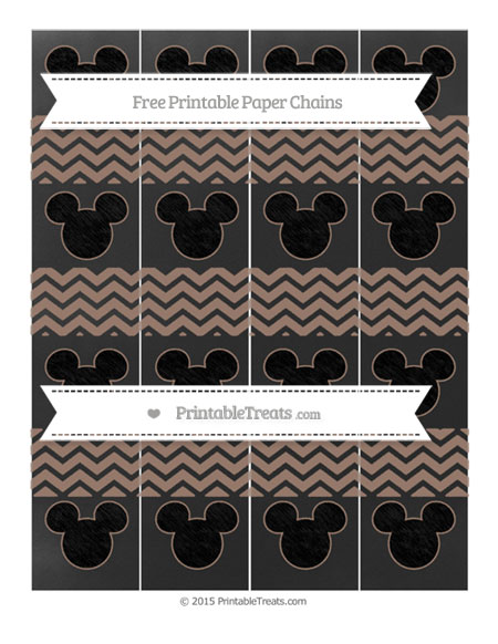 Free Beaver Brown Chevron Chalk Style Mickey Mouse Paper Chains