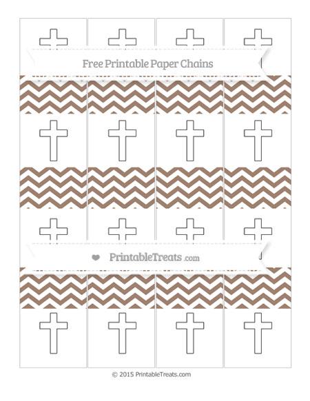 Free Beaver Brown Chevron Cross Paper Chains