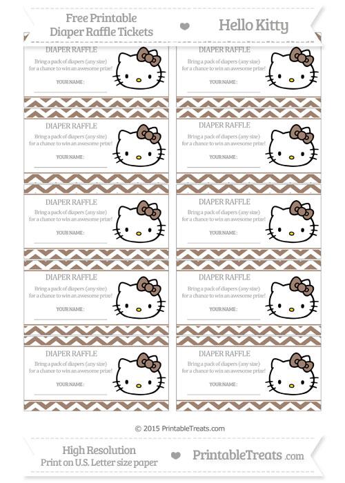 Free Beaver Brown Chevron Hello Kitty Diaper Raffle Tickets