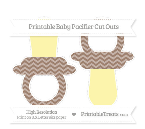 Free Beaver Brown Chevron Large Baby Pacifier Cut Outs