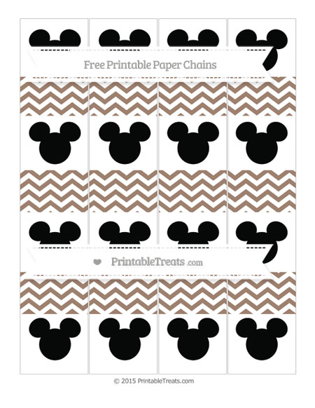 Free Beaver Brown Chevron Mickey Mouse Paper Chains