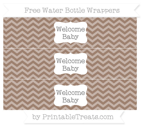 Free Beaver Brown Chevron Welcome Baby Water Bottle Wrappers