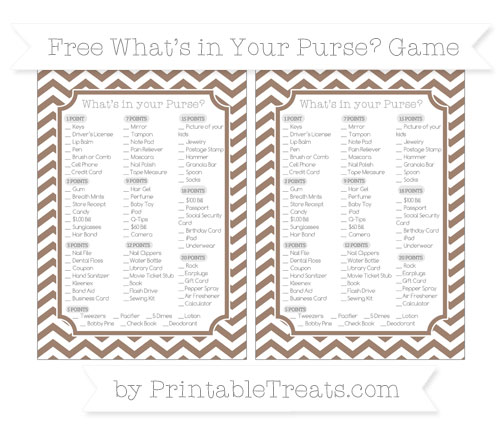 Free Beaver Brown Chevron What's in Your Purse Baby Shower Game