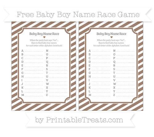 Free Beaver Brown Diagonal Striped Baby Boy Name Race Game