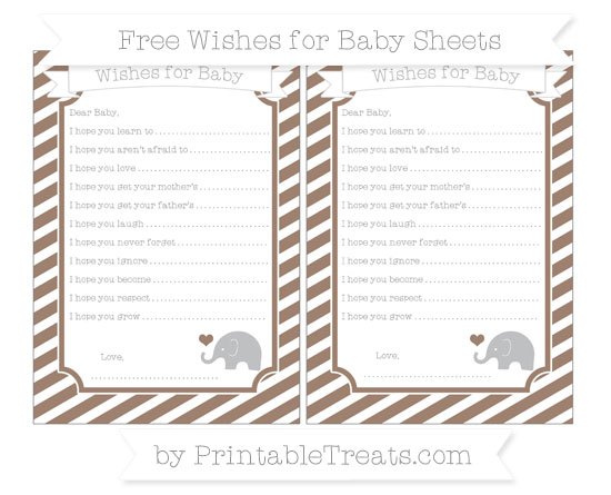 Free Beaver Brown Diagonal Striped Baby Elephant Wishes for Baby Sheets