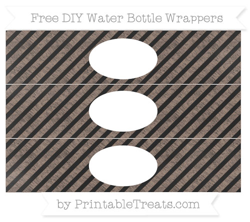 Free Beaver Brown Diagonal Striped Chalk Style DIY Water Bottle Wrappers