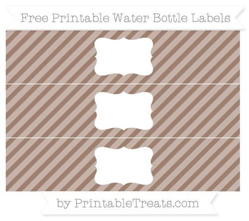 Free Beaver Brown Diagonal Striped Water Bottle Labels