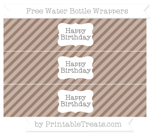 Free Beaver Brown Diagonal Striped Happy Birhtday Water Bottle Wrappers