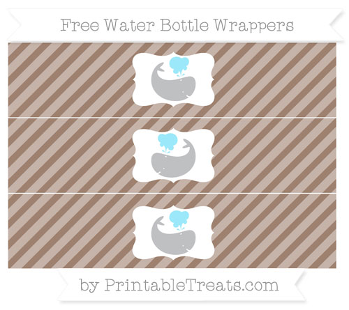 Free Beaver Brown Diagonal Striped Whale Water Bottle Wrappers