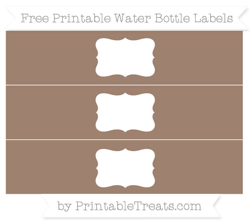 Free Beaver Brown Water Bottle Labels