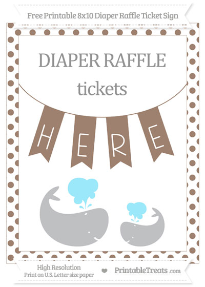 Free Beaver Brown Dotted Baby Whale 8x10 Diaper Raffle Ticket Sign