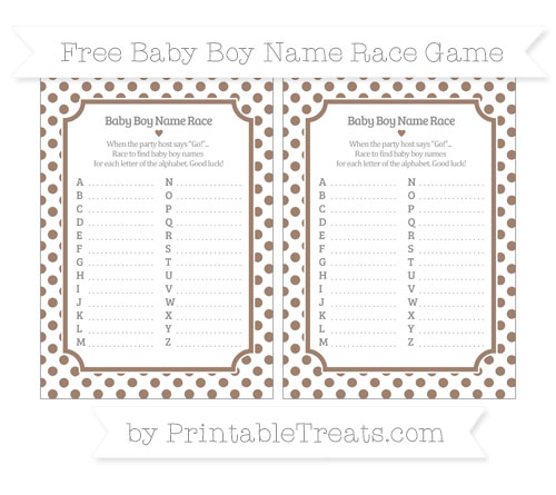 Free Beaver Brown Dotted Pattern Baby Boy Name Race Game
