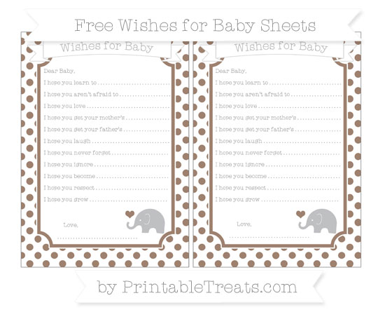 Free Beaver Brown Dotted Pattern Baby Elephant Wishes for Baby Sheets