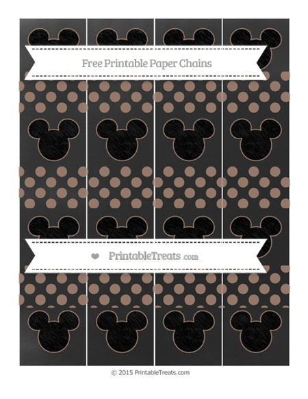 Free Beaver Brown Dotted Pattern Chalk Style Mickey Mouse Paper Chains