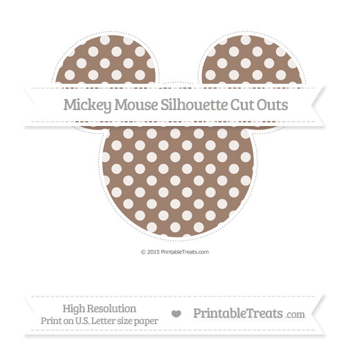 Free Beaver Brown Dotted Pattern Extra Large Mickey Mouse Silhouette Cut Outs