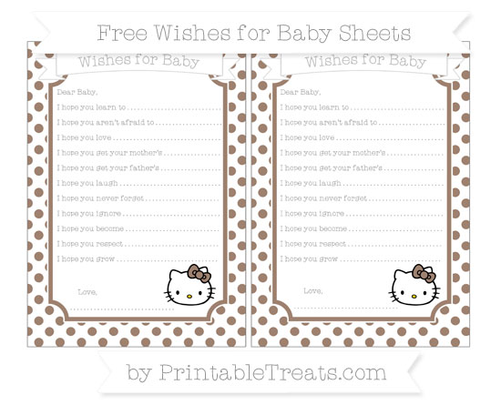 Free Beaver Brown Dotted Pattern Hello Kitty Wishes for Baby Sheets