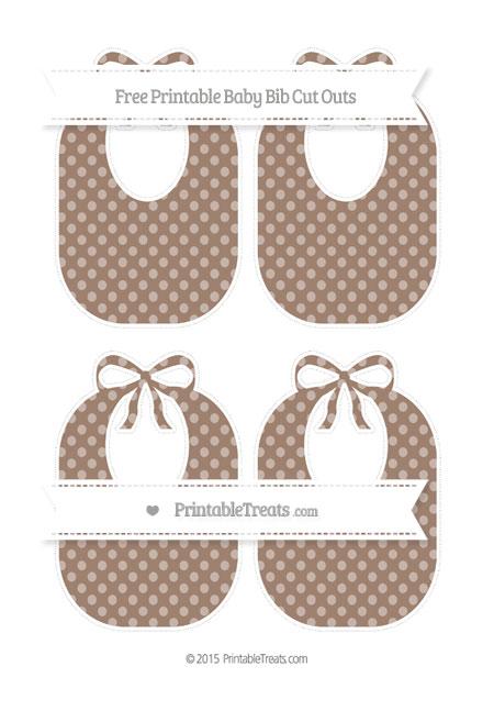 Free Beaver Brown Dotted Pattern Medium Baby Bib Cut Outs