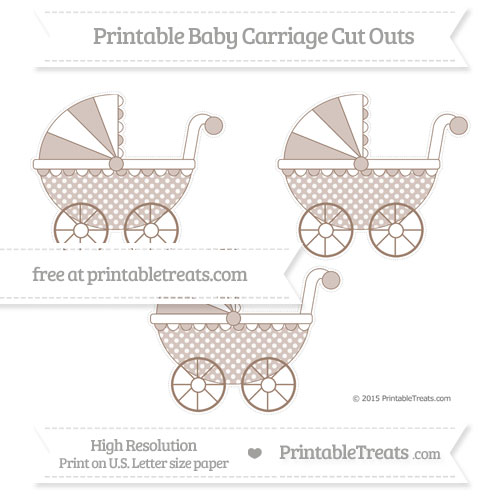Free Beaver Brown Dotted Pattern Medium Baby Carriage Cut Outs