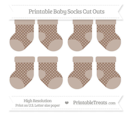 Free Beaver Brown Dotted Pattern Small Baby Socks Cut Outs