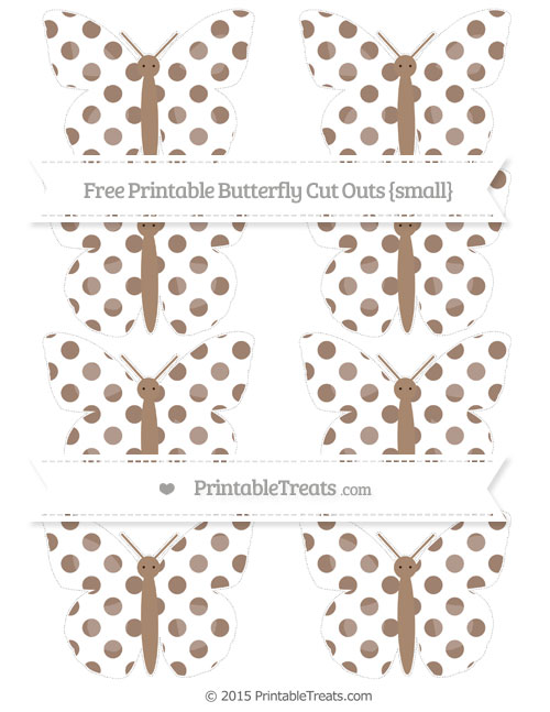 Free Beaver Brown Dotted Pattern Small Butterfly Cut Outs