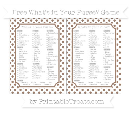 Free Beaver Brown Dotted Pattern What's in Your Purse Baby Shower Game