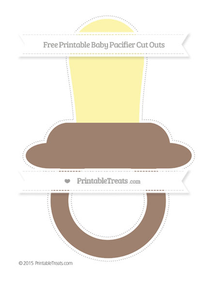 Free Beaver Brown Extra Large Baby Pacifier Cut Outs