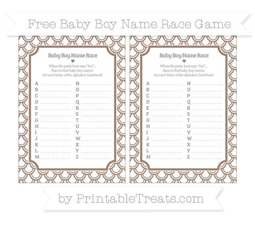 Free Beaver Brown Fish Scale Pattern Baby Boy Name Race Game