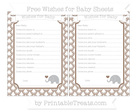 Free Beaver Brown Fish Scale Pattern Baby Elephant Wishes for Baby Sheets