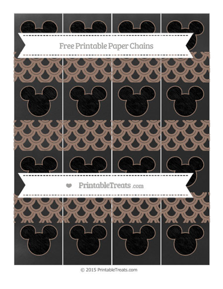 Free Beaver Brown Fish Scale Pattern Chalk Style Mickey Mouse Paper Chains