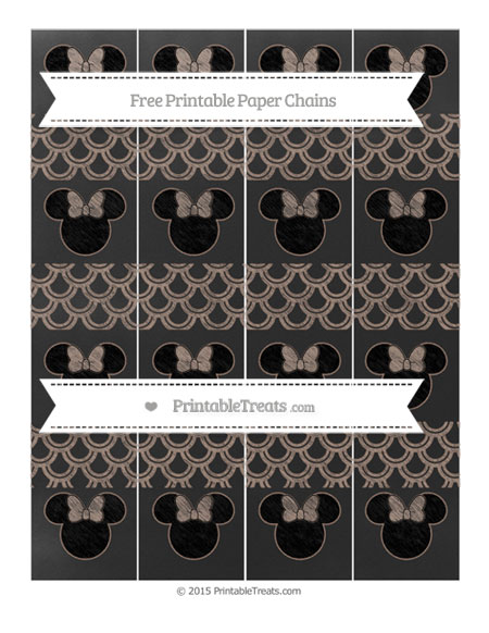 Free Beaver Brown Fish Scale Pattern Chalk Style Minnie Mouse Paper Chains