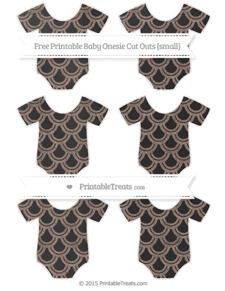 Free Beaver Brown Fish Scale Pattern Chalk Style Small Baby Onesie Cut Outs