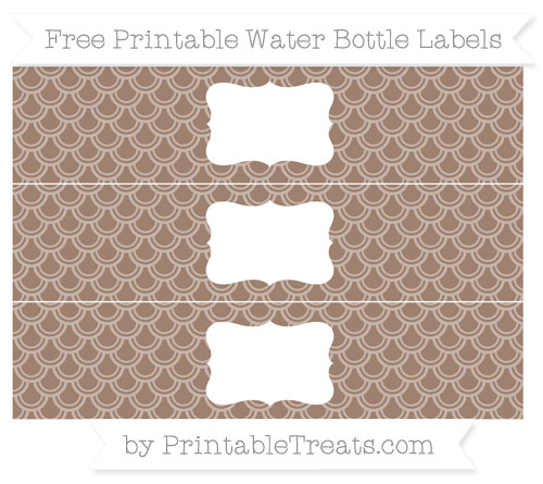 Free Beaver Brown Fish Scale Pattern Water Bottle Labels