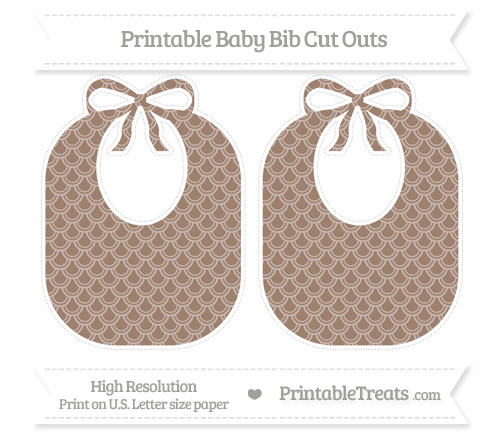 Free Beaver Brown Fish Scale Pattern Large Baby Bib Cut Outs