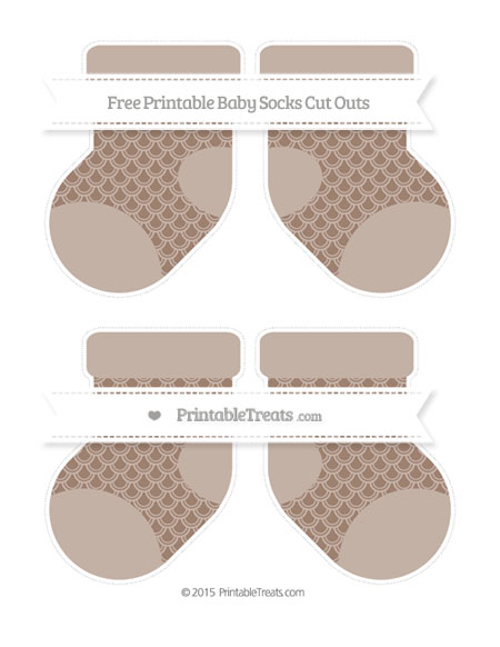 Free Beaver Brown Fish Scale Pattern Medium Baby Socks Cut Outs