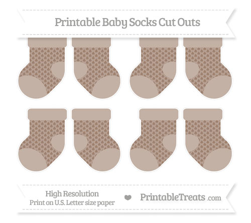 Free Beaver Brown Fish Scale Pattern Small Baby Socks Cut Outs