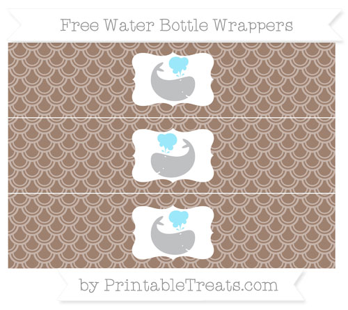 Free Beaver Brown Fish Scale Pattern Whale Water Bottle Wrappers