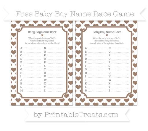 Free Beaver Brown Heart Pattern Baby Boy Name Race Game