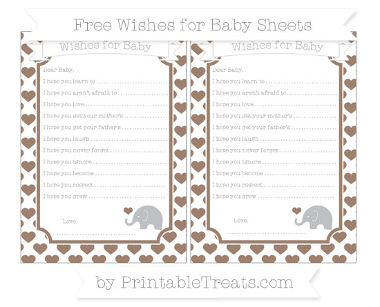 Free Beaver Brown Heart Pattern Baby Elephant Wishes for Baby Sheets