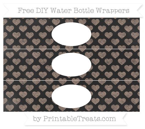 Free Beaver Brown Heart Pattern Chalk Style DIY Water Bottle Wrappers