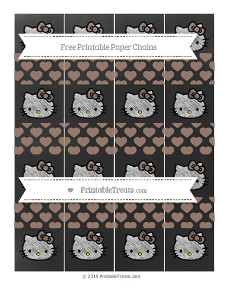 Free Beaver Brown Heart Pattern Chalk Style Hello Kitty Paper Chains
