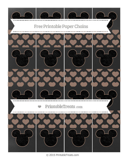 Free Beaver Brown Heart Pattern Chalk Style Mickey Mouse Paper Chains