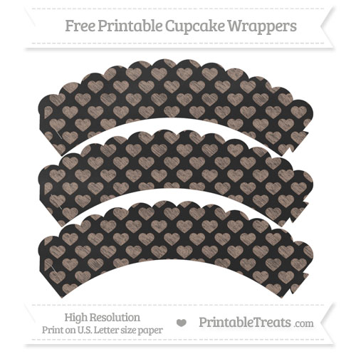 Free Beaver Brown Heart Pattern Chalk Style Scalloped Cupcake Wrappers